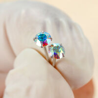 925 Sterling Silver Round Cut Rainbow Topaz AAA Zircon CZ Stud Earrings Jewelry