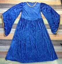 Medieval Renaissance Dress Theater Reenactment Costume Blue Velvety Gold Trim