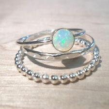 3Pcs 925 Silver Fire Opal Gemstone Wedding Engagement Ring Jewelry Set Size 8