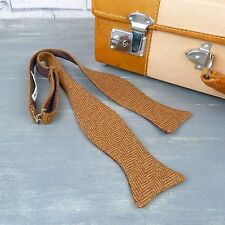 Handmade Irish Tweed Self Tie Bow tie - Brown Herringbone