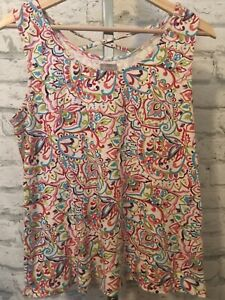 Women's CHICO'S Multicolor Sleeveless Tank Top, Criss Cross Back, Size 2 Large