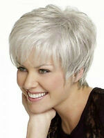 Beautiful Short Straight Silver/Grey Synthetic Hair Wig Free Shipping