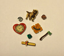 5 WIZARD OF OZ FLOATING LOCKET CHARMS COURAGE HEART TOTO DIPLOMA  AXE