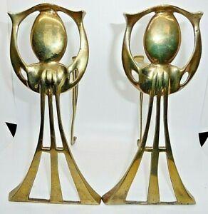 Antique Art Nouveau Brass fireside  fire dogs Andirons.
