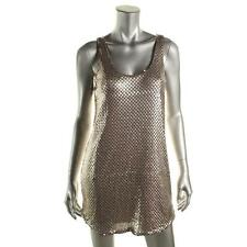 AQUA Designer Sequin Sequined Sequinned Tank Slip Dress Pink Size XS 6 8 NEW