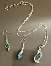 Turquoise And Silver Neclace And Earring Set