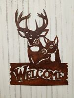 Buck and Doe Flat Metal Rusted Sign