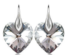 925 Sterling Silver Earrings Crystals from Swarovski®-18MM-HEART-CRYSTAL-Cal