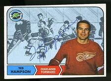 1968-69 Topps #85 TED HAMPSON Autograph/Auto Card Oakland Seals