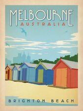 Brighton Beach Melbourne Australia Vintage Retro style Advertisement Metal Sign