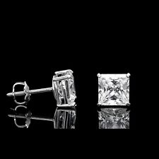 2CT Princess Cut Created Diamond Square Stud Screw-back Earrings 14K White Gold