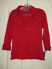 Karen Scott Women's Red 3/4 Sleeve Roll Tab Polo Shirt Size Small NWT
