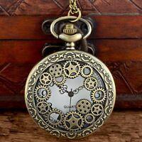 Gear Theme Pocket Watch Style Antique Bronze Retro Quartz Pendant Necklace Chain