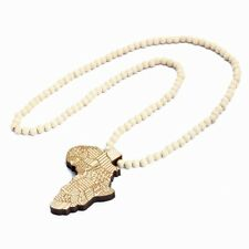 1pcs Good Quality Hip-Hop African Map Pendant Wood Bead Rosary Chain Beige B3S9