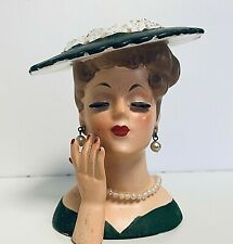 New Listing Napco Lady Head Vase Pearl Necklace Green Dress & Hat 1958 - C3343C