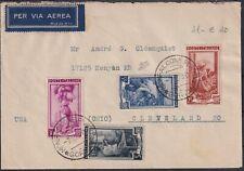 1950 07 Dec aerogram from MONFALCONE to Ohio with Beautiful Postage quadricol