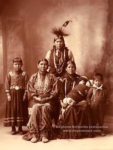 Restored Reprint Vintage Native American Photograph SAUK SAC INDIAN FAMILY 1898