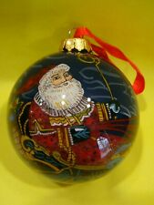 Hand Painted Inside Glass Ornament Old World Santa Sleigh Reindeer With Box 2002