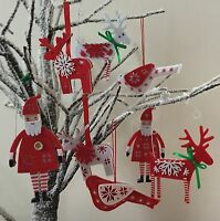 Red White Scandi Christmas Tree Decoration Nordic Reindeer Felt Gisela Graham