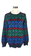 VINTAGE Knitted Jumper- Geometric Boho Black Nordic Snowflake Green Red Blue 16