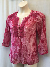 Size 12 Tunic Top Blouse Womens Boho Peasant Casual Party Holiday FREE POST