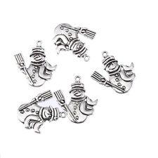 snowman christmas Tibetan Silver Bead charms Pendants fit bracelet 8pcs