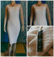ST. JOHN Collection Knits Cream Dress L 10 12 Sleeveless SHEATH Beige Shimmer