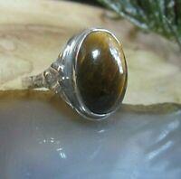 ethno vintage ring silber 935 mit traum tigerauge im cabochon 17 mm 70er
