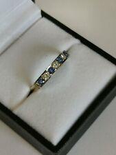 NEW TANZANITE DIAMOND GOLD RING 7 stone white gold head yellow shank 9ct 375