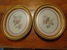 2 Vintage Homco Framed Bird Art Prints Wall Hangings Pictures 1983 Oval Frame
