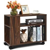 3-tier Side Table W/Storage Shelf W/Wheels Space-saving Industrial Nightstand