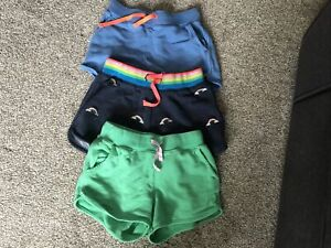 Boden Kids Shorts X 3  Green, Light Blue And Navy With Rainbows Age 9yrs