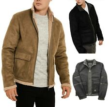 Threadbare New Men Laser Synthetic Suede Jacket Borg Lined Collar Fashion Coat