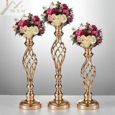 10PCS Gold Flower Vases Candle Holders Stand Wedding Decor Table Centerpiece