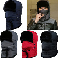 Mens Aviator Trapper Hunter Earflap Winter Warm Cap Russian Ushanka Hood Ski Hat