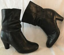 Clarks Black Mid Calf Leather Lovely Boots Size 5 (24v)
