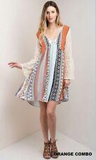 Kori America Umgee Boho Lace Bell Sleeve orange Gypsy Flowy Hippie Dress Medium