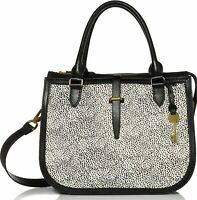 NWT Fossil Ryder Leather / Calf Hair Black / Cheetah Satchel ZB7850504 $268 MSRP