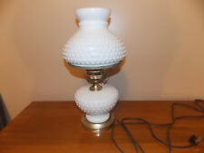 White Hobnail Milk Glass Parlor Bedroom Table Lamp