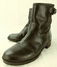 Gap Wos Boots Ankle BUCKLE MOTO US 6 True Black Leather Pull On 3268