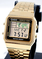 Casio A-500WGA-1D World Time 5 Alarms Watch Gold Tn LED Backlight Steel Band New
