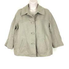 J Jill Womens Jacket Size Small Beige Khaki Button Front Pockets Linen Blend