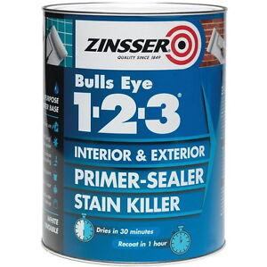 Sale Zinsser Bulls Eye 123 Primer Sealer Stain Block Interior/Exterior 2.5L