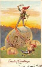 Easter Greetings Gnome Elf Large Eggs Antique Postcard K60206