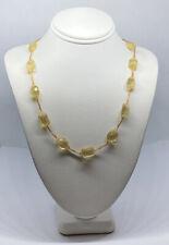 "14k Yellow Gold Yellow Quartz Necklace 7g 18"""