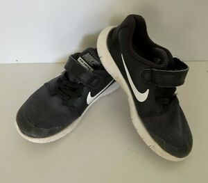 NIKE Flexi contact toddler size 11 black & white joggers runners unisex boy girl