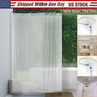 Shower Curtain Decor 3D Water Cube Pattern Design Bath Curtains With 12 Hooks