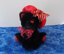 Cute Little Black Kitty Cat or Bear with Red Glitter Paws and Red Hat
