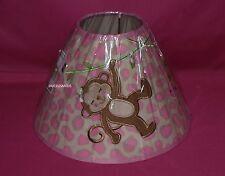 BABIES R US GIRL MONKEY LAMP SHADE WHITE PINK MONKEY GIRAFFE LAMPSHADE NIP
