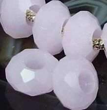 Faceted Pink Glass Quartz Fit Charm Bracelet Beads (8)